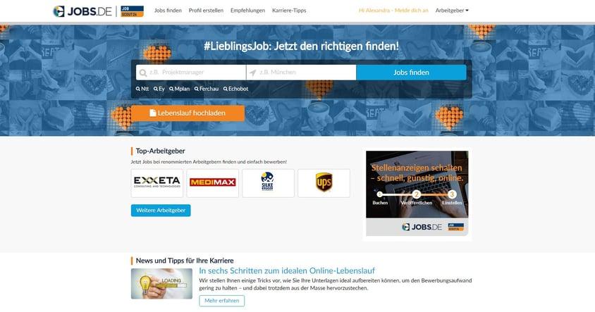 Screenshot Homepage Jobs.de
